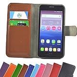 Gigaset GS280 Smartphone Slide Kleber Hülle Case Cover Schutz Handy Tasche Cover Etui Handyhülle Schutzhülle in Braun