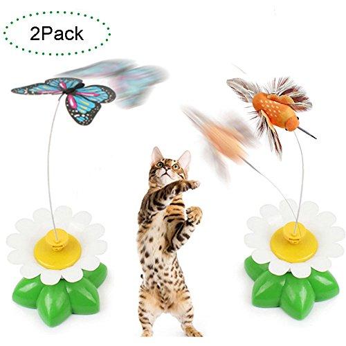*Creation® Set bestehend aus 2 Elektrische Pole Schmetterling Interactive-Spielzeug für Katze / Kitten Fangen, Spielen, Jagen*