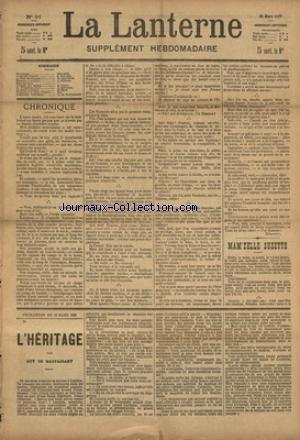 LANTERNE (LA) [No 91] du 06/06/1886 - MAM'ZELLE SUZETTE PAR BOUVIER - MADAME LE MINISTRE PAR MENARD - LE TORPILLEUR RUSSE PAR COURMES - LA SANTE PUBLIQUE PAR LE DR MARC - FEUILLETON / L'HERITAGE PAR DE MAUPASSANT