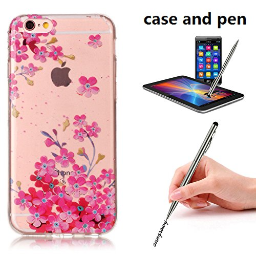 HLZDH Transparente Case pour iPhone 6 Plus TPU Silicone Transparente Ultra Mince Ultra Lége [Anti Scratch][Anti dérapante][AntiChoc] Gel transparent Housse Pare-chocs +Touchez le stylo image-7