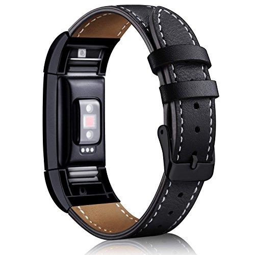 "Mornex Kompatibel Fitbit Charge 2 Armband, Echte Leder Armbänder, Unisex Ersatzband mit Metall Konnektoren(5,5\""-8,1\""), Gunmetal black"