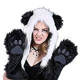 QBQ 3-in-1 Schals & Fäustlinge & Ohren Wärmer Winter weichen Kunstpelz Tier Hut Hoodie Mütze Handschuhe Handschuhe Schal Geist Pfoten Ohren Weihnachtsgeschenk (Panda)