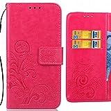 Ougger Handyhülle Huawei Honor 6C Pro Tasche Glückliche Blätter Beutel BriefTasche Schutzhülle PU Leder Weich Magnetisch Silikon TPU Cover Schale für Huawei Honor 6C Pro mit Kartenslot (Rosa)