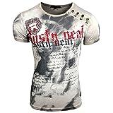 Rusty Neal Herren T-Shirt NO Mercy Waschung Rundhals Applikationen RN-15156, Größe:L, Farbe:Grau