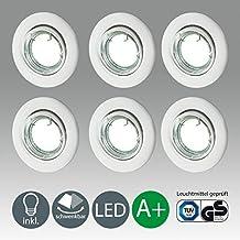 Lampadine LED compatte   Faretti LED 3W alogeni   Illuminazione a incasso   Set di 6 luci rotative 250 lm   Plafoniera montaggio GU10   Classe A+