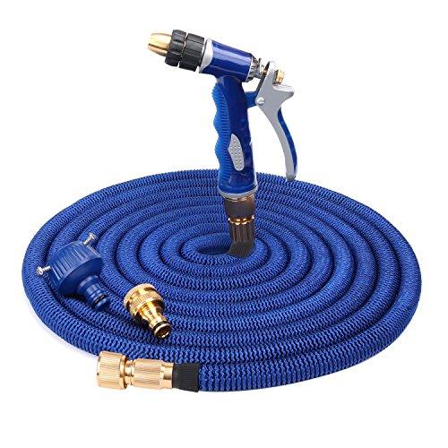 Flexibler Gartenschlauch mit Garten-Spritzpistolen Wasserschlauch Blau Latex 50ft 15M ausgedehnt praktisch für Haus und Garten zur Gartenbewässerung Rasenbewässerung Autowaschen