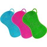 Éponge silicone trois-pièces, Éponge à gratter, Éponge de cuisine multifonctions hygiénique couleur bleu, lilas, vert