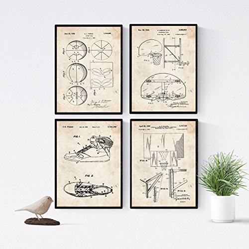 Nacnic Vintage - Pack de 4 láminas con Patentes de Baloncesto 2. Set de Posters con inventos y Patentes Antiguas. Elije el Color Que más te guste. Impreso en Papel de 250 Gramos