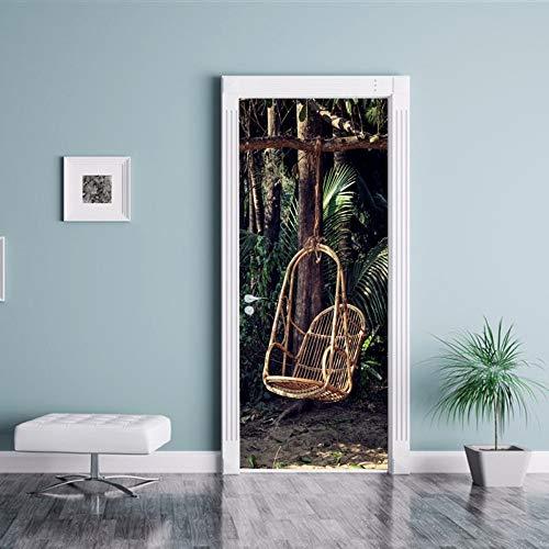 bdpq_Creative DIY 3D Tür Aufkleber Wald Wicker Stuhl Muster für Zimmer Wanddekoration Wohnkultur Zubehör Große Wandaufkleber (Küche Stühle Wicker)