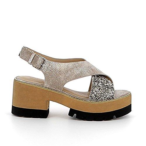 Sandale à plateau cranté Bronze