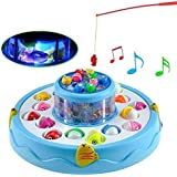 RIANZ Go Go Fishing Electric Rotating Magnetic Fishing Game with Musical Lights (Color May Vary)