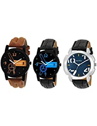 Matrix Multicolor Dial & Multicolor Leather Strap Analog Watches for Men/Boys - Combo (Pack of 3) - (TRP-6)