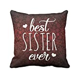 TYYC New Year Gifts for Sister, Best Sister Ever Printed Single Cushion Cover- 12x12 inches