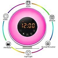 Aipker Wake Up Light, Sunrise Alarm Clock with FM Radio Snooze Function 7 Colors LED Bedside Lamp Night Light Nature Sounds for Heavy Sleeper Children Kids