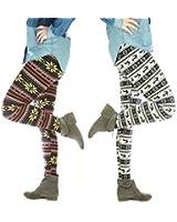 Warme sexy Damen Winter-Leggings Norweger Muster mit Teddy Fleece gefüttert Thermo Leggins, one size, women pattern