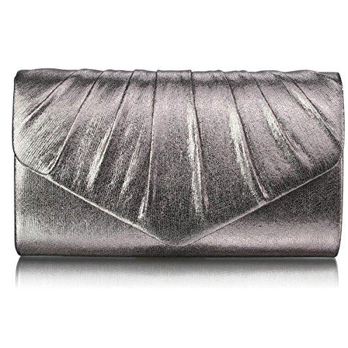 Xardi Londra New-Busta frizione pieghe, in finta pelle, per abiti da sera, da donna Grigio (grigio)