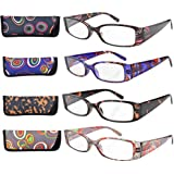 Eyekepper Gafas de Lectura Retangulares de Colores Bonitos con Bisagra de Resorte de 4 Pares +3.0
