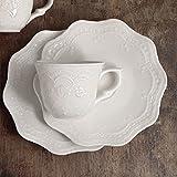 CdCasa 6er Set Kaffeetasse Espresso Tasse und Untertasse Landhaus Shabby Chic - Blumenmuster Geprägt - Durchmesser 6 cm - Weiß - Keramik