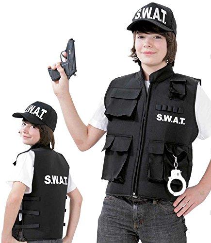 SWAT Einsatzweste, SWAT Team - Weste für Karneval, Fasching, Spiel (128) (Csi Kostüm Weste)