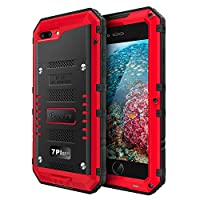 Beeasy Case Compatible with iPhone 7 Plus / 8 Plus, Shockproof Waterproof Heavy Duty with Screen Military Grade Metal Durable Strong Cover Drop Proof Tough Rugged Impact for Outdoor Protection,Red