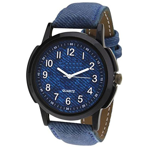 The Shopoholic Analog Blue Dial Blue Leather Belt Watch for Boys Stylish