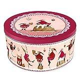 Grätz Verlag Keksdose/Plätzchendose Retro Dose für Kekse,, rund, rot, aus Blech, ca. 10,5 cm hoch Wichtel an Schnüren