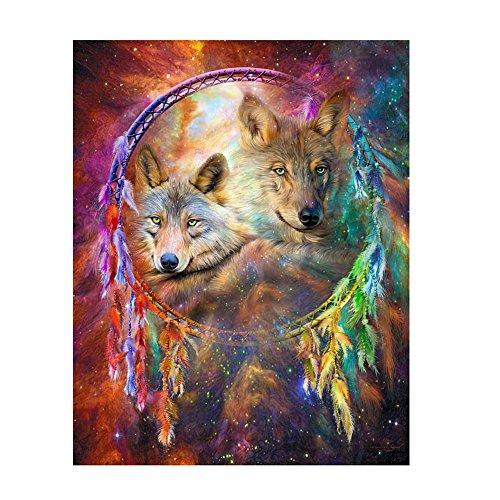 Cuadro de pintura DIY en 5D, cristales de resina, estilo punto de cruz, diseño de atrapasueños y lobo, decoración doméstica