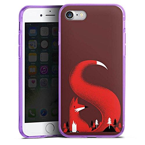 Apple iPhone 7 Silikon Hülle Case Schutzhülle Fuchs Wald Natur Silikon Colour Case lila
