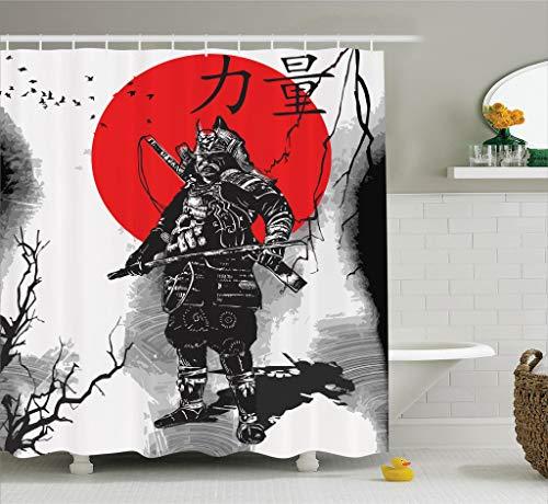 Abakuhaus Duschvorhang, Porträt des Gebildeten Großen Samurai Ritters mit Seiner Waffe Mann des Krieges Digital Druck, Blickdicht aus Stoff inkl. 12 Ringen Umweltfreundlich Waschbar, 175 X 200 cm