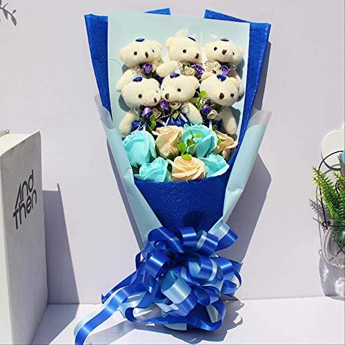 TYKCRt Simpatico Orsetto di Peluche Regalo di Peluche con Confezione Regalo Bambole di Peluche ripiene Morbido Confezione Regalo di Peluche Regalo di Compleanno Blu