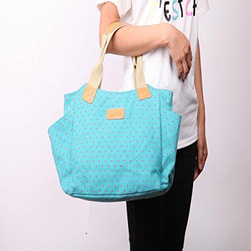 Eshow borsa donna tote da spalla di tela azzurro