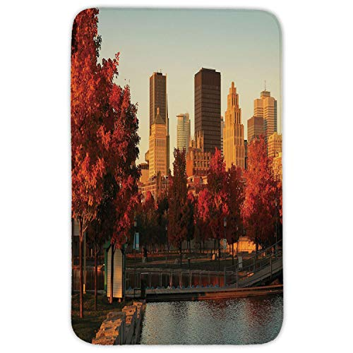 XIAOYI Rectangular Area Rug Mat Rug,City,Old Port of Montreal Early in The Morning Scenic Autumn Trees Buildings Canada,Red Orange Brown,Home Decor Mat with Non Slip Backing - Side Port Memory
