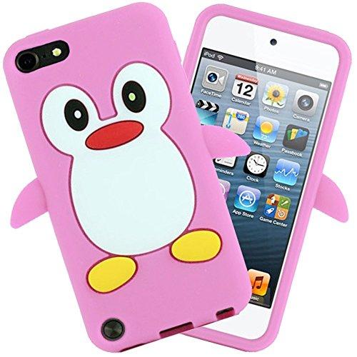 Tsmine Apple Ipod Touch 5. und 6. Generation Pinguin Cartoon Case - Cute 3D Penguin Soft Silikon zurück waschbar Cover Case Schutzhülle für iPod Touch 5. & 6. Generation, Baby Pink