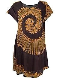 GURU-SHOP, Túnica Batik, Hippie Chic, Vestido de Playa, Vestido de Verano, Rojo, Sintético, Tamaño:40,…