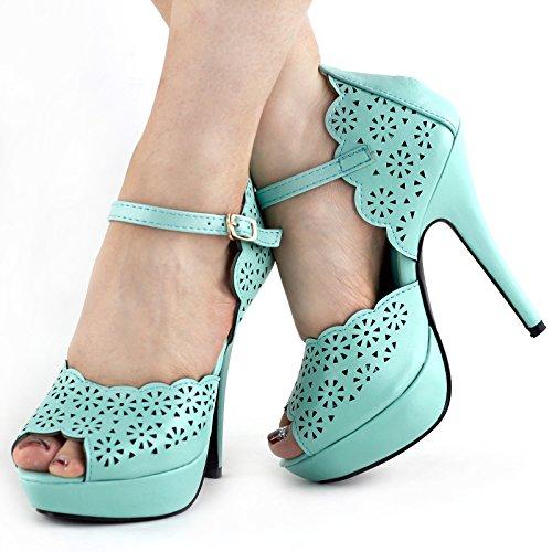 Voir l'établissement histoire Aqua/noir découpe Peep-toe plate-forme Stiletto sandales de pompe, LF30468 Aqua