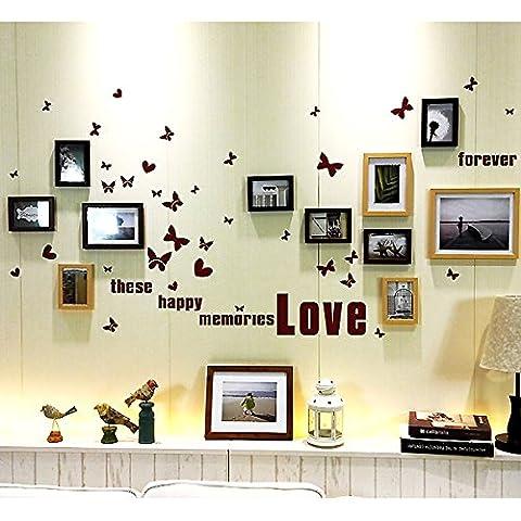 HJKY Photo Frame Wall Set Moderne minimaliste mur photo photo photo décoration murale wall hanging clips que la non-autocollants de marquage 11 Grille fort souvenirs (noir) ++ teak wood logs)