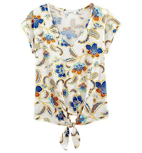 Promod T-Shirt noué Femme Imprimé écru XL