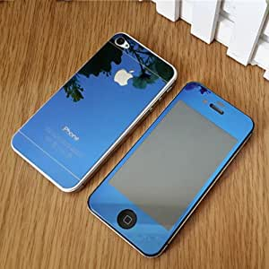 ShopAIS Iphone 4/4s Blue - Electroplated/Electroplating Mirror Front + Back Tempered Glass Screen Protector - We offer a Transperent Utra-Thin Back Cover worth Rs 199 Free with all orders