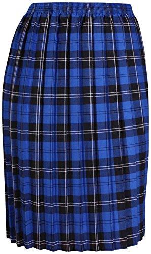 femmes Tartan à carreaux imprimé femme élastique boite plissé Ceinture élastique jupe longue grande taille Bleu Roi & Noir