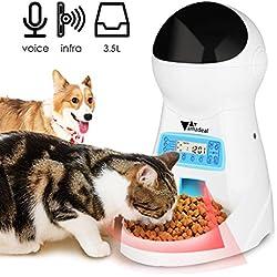 amzdeal Distributeur Automatique de Nourriture pour 4 Fois/Jour Pet Feeder Automatique Distributeur de croquettes Gamelle pour Chien/Chat (Grand, Moyen, Petit) (3.5L)
