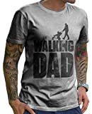 Stylotex Lustiges Herren Männer T-Shirt Basic | The Walking Dad | Geschenk für werdende Papas, Größe:M, Farbe:Heather