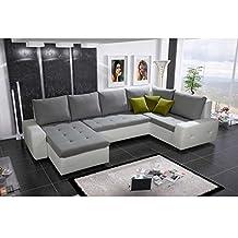 JUSThome Senso Bis Sofá esquinero chaise longue de piel ecológica Blanco Gris 94 x 175 x 345 cm Brazo izquierdo