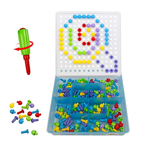 TONZE Pegboard Toy with Mushroom Nails Screw Mosaics Puzzle Kit Construction Game for Kids age 3 Years, 352 pcs
