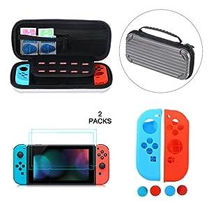 OIZEN Tasche für Nintendo Switch, Harte Reise Tragetasche Switch Hülle Case mit größerem Speicherplatz für 20 Spielekarten + 2 Stück Display Schutzfolie