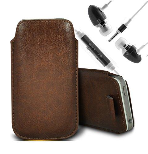 Vert/Green - Nokia Lumia 620 Housse deuxième peau et étui de protection en cuir PU de qualité supérieure à cordon et écouteurs intra-auriculaires de 3,5 mm assortis par Gadget Giant® Brun/Brown & Ear Phone