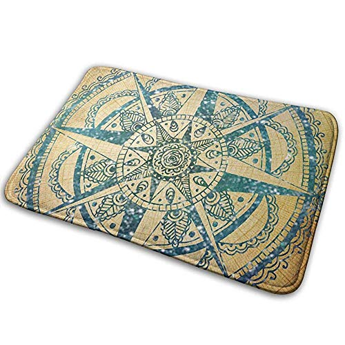 ghkfgkfgk Mandala Floral Compass Anti Slip Machine Washable Doormats Bathroom Kitchen Rug Indoor Outdoor Mats 36(L) X 24(W) Inch