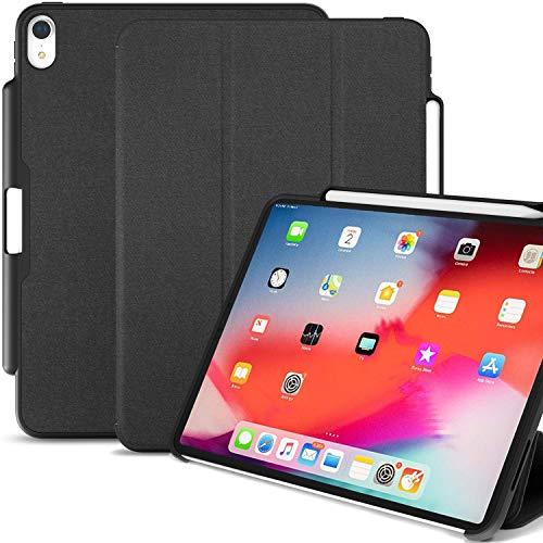 KHOMO iPad Pro 11 Smart Cover Schutzhülle mit Stifthalter und Ladestation für Apple Pencil 2, iPad Pro 11 2018 - Dunkelgrau
