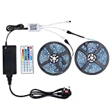 WenTop Led Strip Kit,Non-Waterproof Led strip lights 32.8 Ft(10m) ,5050 RGB 300 leds(30 led/m) 44 Key IR Remote Control and DC 12V BS Listed Power Supply, for TV Backlighting,kitchen,Bedroom