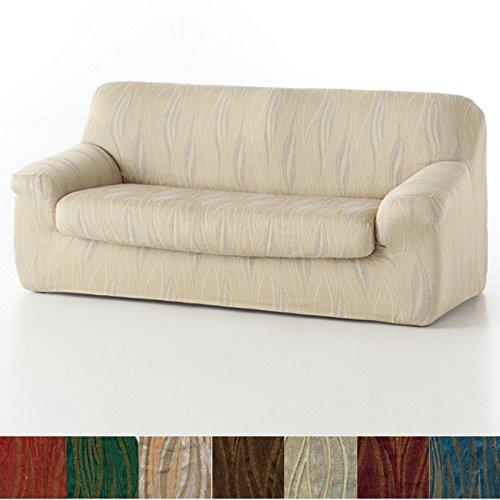 Funda de Sofá Elástica con el Cojín Separado Modelo Carabela, Color Marrón, Medida 1 Plaza – 70-110cm