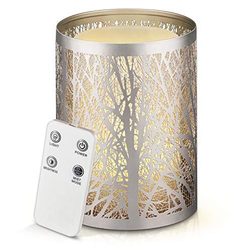 Aromaterapia diffusore di oli essenziali, 100 ml tranquillo fresco umidificatore nebbia con colore bianco caldo candela Effetto luminoso, Bassa Automatico acqua di spegnimento e telecomando